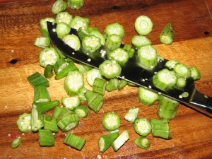 Chopping okra