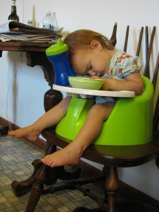 Fast asleep at the table.