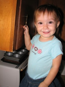 Little Girl helping me bake