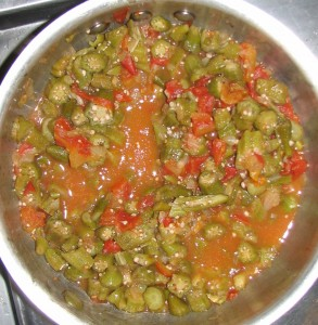 Yummy okra and tomatoes all finished.